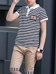 cheap -Kids Boys' Basic Striped Patchwork Short Sleeve Short Cotton Clothing Set Red