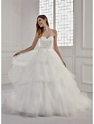 cheap -A-Line Sweetheart Neckline Court Train Lace / Tulle / Sequined Strapless Sexy / Beautiful Back Made-To-Measure Wedding Dresses with Beading / Appliques / Sashes / Ribbons 2020