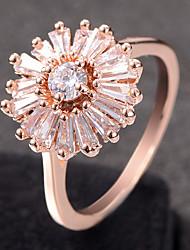 cheap -Women's Ring Cubic Zirconia 1pc Rose Gold Silver Alloy Circular Trendy Elegant Wedding Jewelry Fancy Flower Cute