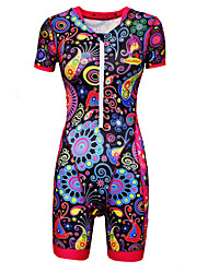 cheap -Malciklo Women's Short Sleeve Triathlon Tri Suit Lycra Black Yellow Orange Floral Botanical Bike Breathable Moisture Wicking Sports Multi Color Clothing Apparel / Stretchy / YKK Zipper / Race Fit