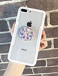 cheap -Case For Apple iPhone X / iPhone 7 Plus / iPhone 7 Rhinestone / with Stand Back Cover Transparent Hard Tempered Glass
