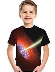 abordables -Enfants Bébé Garçon Actif Basique Géométrique Imprimé 3D Imprimé Manches Courtes Tee-shirts Noir
