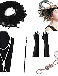 cheap -Necklace Earrings Costume Accessory Sets Gloves Necklace Retro Vintage 1920s The Great Gatsby Artificial feather For The Great Gatsby Cosplay Halloween Carnival Women's Costume Jewelry Fashion Jewelry