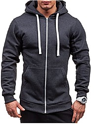 cheap -Men's Hoodie Solid Colored Hooded Casual / Basic Loose Wine Black Light gray Dark Gray Navy Blue M L XL XXL XXXL