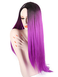 cheap -Synthetic Wig Straight Jenner Middle Part Wig Ombre Long Black / Purple Synthetic Hair 26 inch Women's Adjustable Heat Resistant Easy dressing Purple Ombre