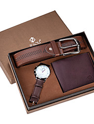 cheap -Men's Sport Watch Analog Quartz Gift Set Minimalist Chronograph Casual Watch Large Dial / Two Years / Leather