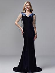 cheap -Mermaid / Trumpet V Neck Court Train Satin / Tulle / Velvet Elegant & Luxurious / Vintage Inspired Formal Evening / Black Tie Gala Dress with Beading / Tassel 2020