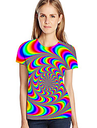 cheap -Women's Street chic / Exaggerated Plus Size T-shirt - Geometric / 3D / Graphic Print Red