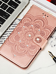cheap -Case For Google Google Pixel 3 / Google Pixel 3 XL / Google Pixel 3a XL Wallet / Card Holder / Rhinestone Full Body Cases Flower Hard PU Leather