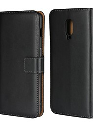 cheap -Case For OnePlus OnePlus 6 / One Plus 6T / One Plus 7 Wallet / Card Holder / with Stand Full Body Cases Solid Colored Hard Genuine Leather