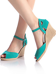 cheap -Women's Suede Spring & Summer British / Minimalism Sandals Wedge Heel Peep Toe Red / Blue / Almond / Party & Evening
