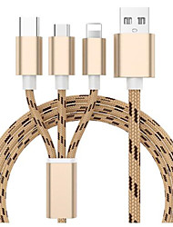 cheap -Micro USB Cable 1.3m(4.3Ft) All-In-1 / Braided Nylon USB Cable Adapter For Samsung / Huawei / Xiaomi