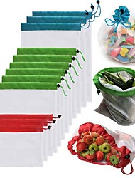 cheap -1pcs Reusable Mesh Produce Bags Washable Bags for Grocery Shopping Storage Fruit Vegetable Toys Sundries Organizer Storage Bag