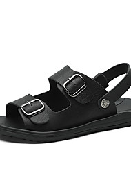 cheap -Men's Comfort Shoes Nappa Leather Fall / Spring & Summer Sporty / Casual Sandals Breathable Black / Khaki