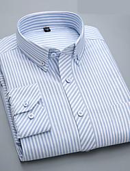 cheap -Men's Business / Basic Cotton Slim Shirt - Striped Ruffle Button Down Collar Navy Blue