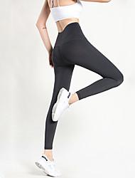 abordables -Femme Pantalon de yoga Couleur unie Course / Running Fitness Collants Bas Tenues de Sport Doux Butt Lift Contrôle du Ventre Power Flex Elastique Slim