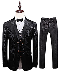 cheap -Black Patterned Tailored Fit Polyester Suit - Notch Single Breasted Two-buttons