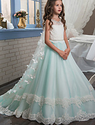 cheap -Ball Gown Sweep / Brush Train Flower Girl Dress - Cotton / Lace / Tulle Sleeveless Jewel Neck with Beading / Crystals / Rhinestones