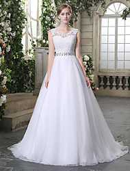 cheap -Ball Gown Jewel Neck Chapel Train Lace / Tulle Regular Straps Wedding Dresses with Beading / Appliques 2020