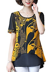 cheap -Women's Daily Wear Blouse - Graphic Floral Style / Chiffon / Fashion Red / Spring / Summer / Fall / Winter