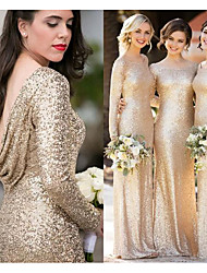 cheap -Bateau Neck Sequined Bridesmaid Dress with Sequin by JUDY&JULIA