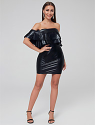 cheap -Sheath / Column Sexy Cocktail Party Dress Strapless Short Sleeve Short / Mini Jersey with Cascading Ruffles 2020