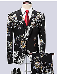 cheap -Black Patterned Standard Fit Polyester Suit - Notch Single Breasted One-button