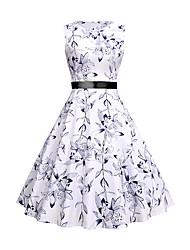 cheap -Women's White Dress Elegant Vintage A Line Sheath Swing Floral Bow Print S M
