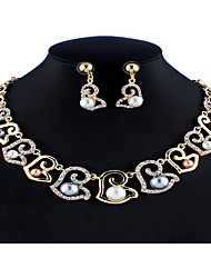 cheap -Women's White Bridal Jewelry Sets Link / Chain Floral Theme Botanical Stylish Unique Design Basic Imitation Pearl Rhinestone Earrings Jewelry Gold For Christmas Wedding Party Engagement Gift 1 set