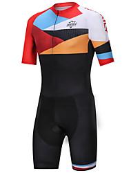 cheap -Nuckily Men's Triathlon Tri Suit Black / Orange Bike Clothing Suit Windproof Breathable Quick Dry Sports Spandex Geometric Mountain Bike MTB Road Bike Cycling Clothing Apparel / Micro-elastic