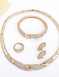 cheap -Women's White tiny diamond Bracelet Bangles Hoop Earrings Necklace Geometrical Moon Phase U Shape Laugh Personalized Simple Classic European Africa 18K Gold Plated Gold Imitation Diamond Earrings