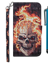 cheap -Case For Samsung Galaxy Galaxy M10(2019) / Galaxy M20(2019) / Galaxy M30(2019) Wallet / Card Holder / with Stand Full Body Cases Skull Hard PU Leather