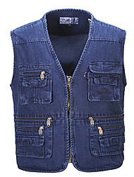 cheap -Men's Hiking Vest / Gilet Fishing Vest Outdoor Lightweight Breathable Quick Dry Wear Resistance Jacket Top Single Slider Fishing Hiking Climbing Blue / Multi Pocket