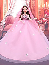 cheap -Wedding Dress Party / Evening Wedding Ball Gown Tulle Spandex Lace Organza For 11.5 Inch Doll Handmade Toy for Girl's Birthday Gifts  Doll Not Included