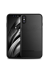 cheap -Case For Apple iPhone XS / iPhone X / iPhone 8 Plus Shockproof Back Cover Solid Colored Soft Carbon Fiber