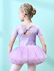 cheap -Kids' Dancewear / Ballet Dresses Girls' Training Cotton / Tulle Bow(s) Short Sleeve Natural Dress