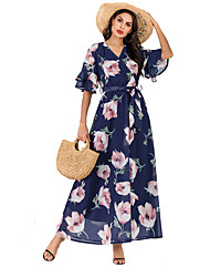 cheap -Women's Boho Maxi Swing Dress Print V Neck Blue M L XL XXL