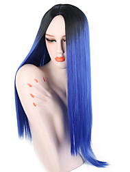 cheap -Synthetic Wig Straight Jenner Middle Part Wig Ombre Long Black / Blue Synthetic Hair 26 inch Women's Adjustable Heat Resistant Easy dressing Blue Ombre