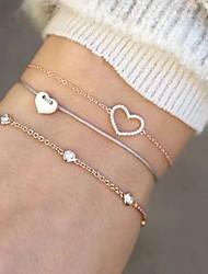 cheap -3pcs Women's Loom Bracelet Pendant Bracelet Layered Heart Simple European Sweet Cord Bracelet Jewelry Gold For Daily Street Holiday Work / Rhinestone