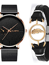cheap -Men's Steel Band Watches Quartz Gift Set Stainless Steel Black / Rose Gold No Chronograph Cute Creative Analog Casual New Arrival - Rose Gold black / gold Black / Rose Gold One Year Battery Life
