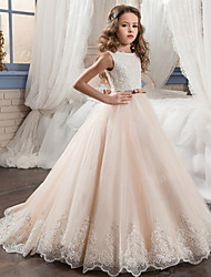 cheap -Ball Gown Maxi Wedding / Birthday / Pageant Flower Girl Dresses - Cotton / nylon with a hint of stretch / Chiffon / Tulle Sleeveless Jewel Neck with Bows / Lace / Embroidery