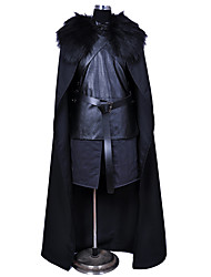 cheap -Jon Snow Cosplay Costume Outfits Masquerade Men's Boys' Movie Cosplay Cosplay Halloween Black Vest Skirt Belt Halloween Carnival Masquerade Polyster / Cloak / Sleeveless