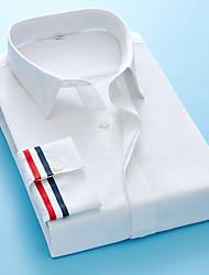 Недорогие -Муж. Однотонный Рубашка Классический Свадьба Для вечеринок Белый / Черный