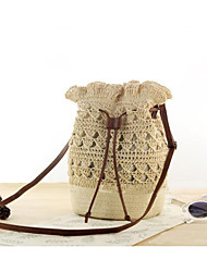 cheap -Women's Straw Crossbody Bag Solid Color Brown / Dark Brown / Beige
