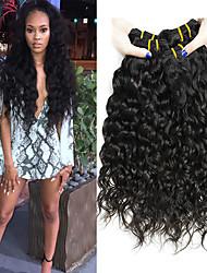 cheap -4 Bundles Brazilian Hair Water Wave Virgin Human Hair Natural Color Hair Weaves / Hair Bulk Bundle Hair Human Hair Extensions 8-28 inch Natural Color Human Hair Weaves Soft Hot Sale Cool Human Hair