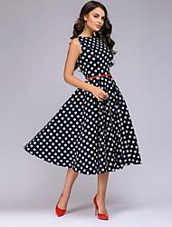 Недорогие -Жен. С летящей юбкой Платье - Горошек Средней длины