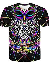cheap -Men's Daily Street Basic Plus Size T-shirt - 3D / Animal Print Round Neck Rainbow / Short Sleeve