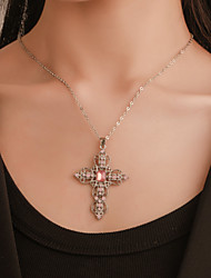 cheap -Women's Cubic Zirconia Pendant Necklace Classic Cross Classic Vintage European Boho Chrome White Pink Blue 53 cm Necklace Jewelry 1pc For Gift Daily Holiday Street Work
