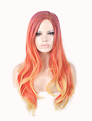 cheap -Synthetic Wig Body Wave Avril Side Part Wig Ombre Long Orange Synthetic Hair 24inch Women's Classic Synthetic Hot Sale Ombre / Natural Hairline / Natural Hairline