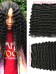 Недорогие -6 Связок Индийские волосы Кудрявый Глубокий курчавый 100% Remy Hair Weave Bundles 300 g Головные уборы Человека ткет Волосы Пучок волос 8-28 дюймовый Естественный цвет Ткет человеческих волос